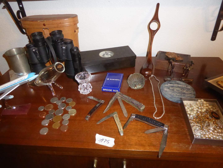Lot # 75 - USAF Model Plane, Glass Vase, British Coins, ½ Pint Beer Mug, Two Pair Binoculars, Couroc Box, Pocket Knives & More (main image)