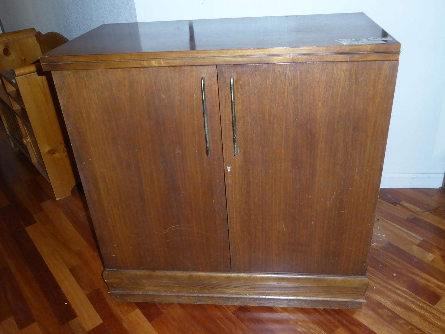 Lot # 77 - Vintage Portable Wooden Bar on Wheels w/Key (dovetailed drawers) (main image)