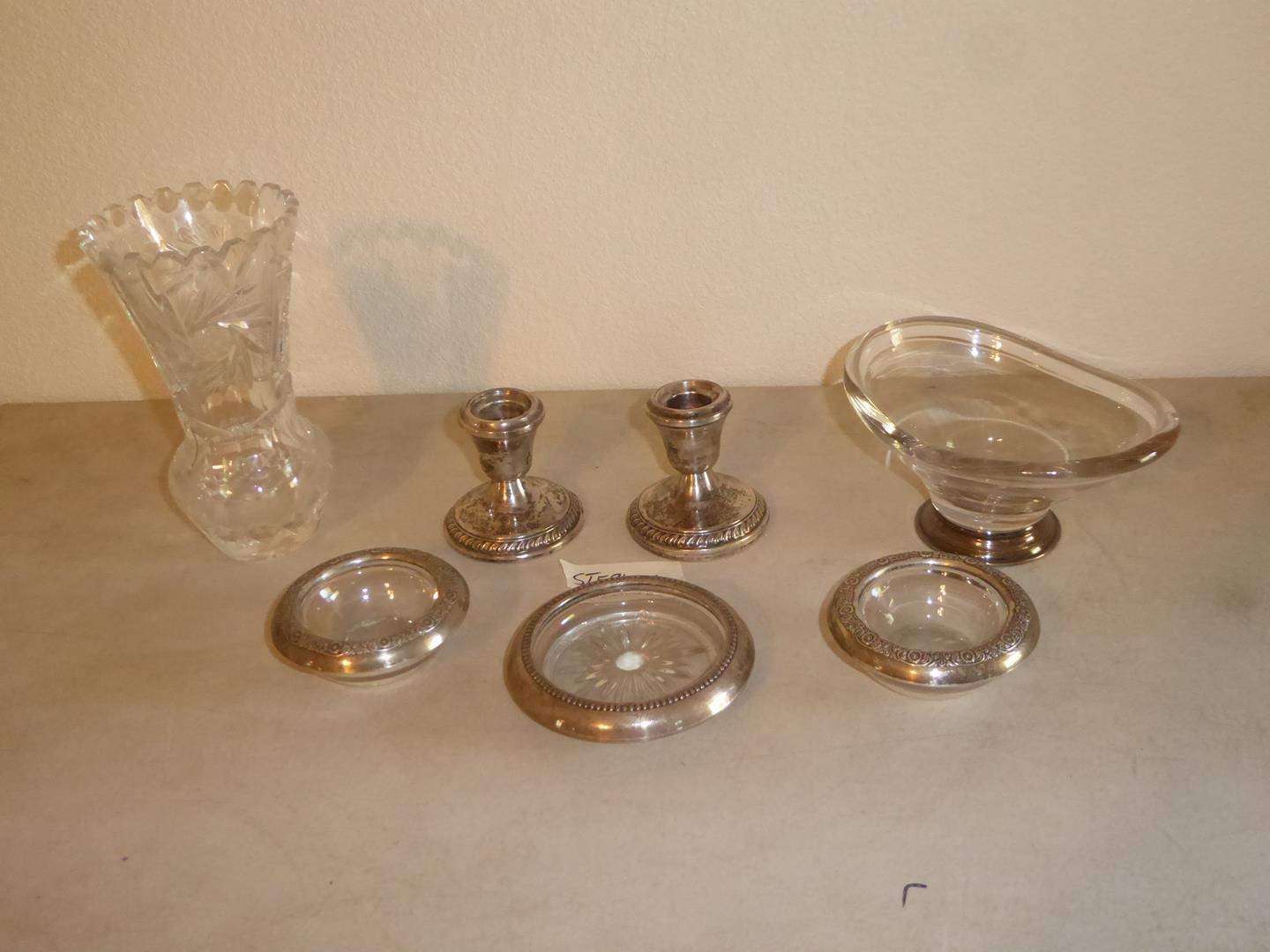 Lot # 78 - Small Cut Glass Pressed Glass Vase, Sterling Rimmed Coasters & Candle Holders (main image)