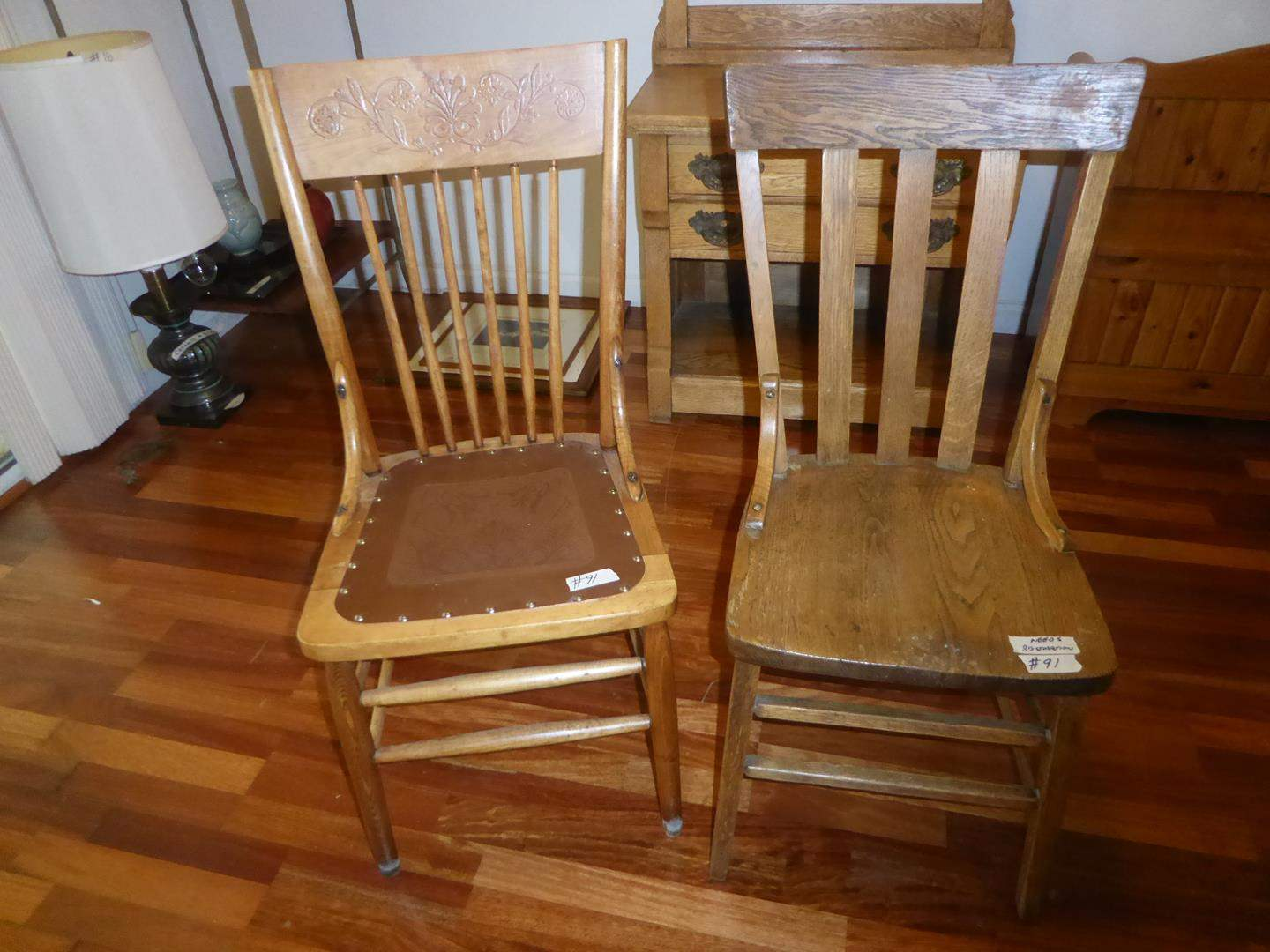 Lot # 91 - Two Vintage Wooden Accent Chairs  (main image)