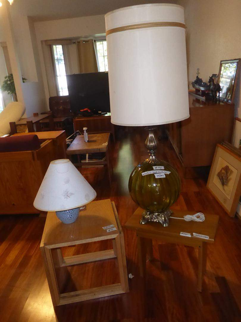 Lot # 92 - Blue Ceramic Dresser Lamp, Three Wooden Stacking End Tables, Vintage Green Glass Table Lamp & Small Wooden Bench (main image)