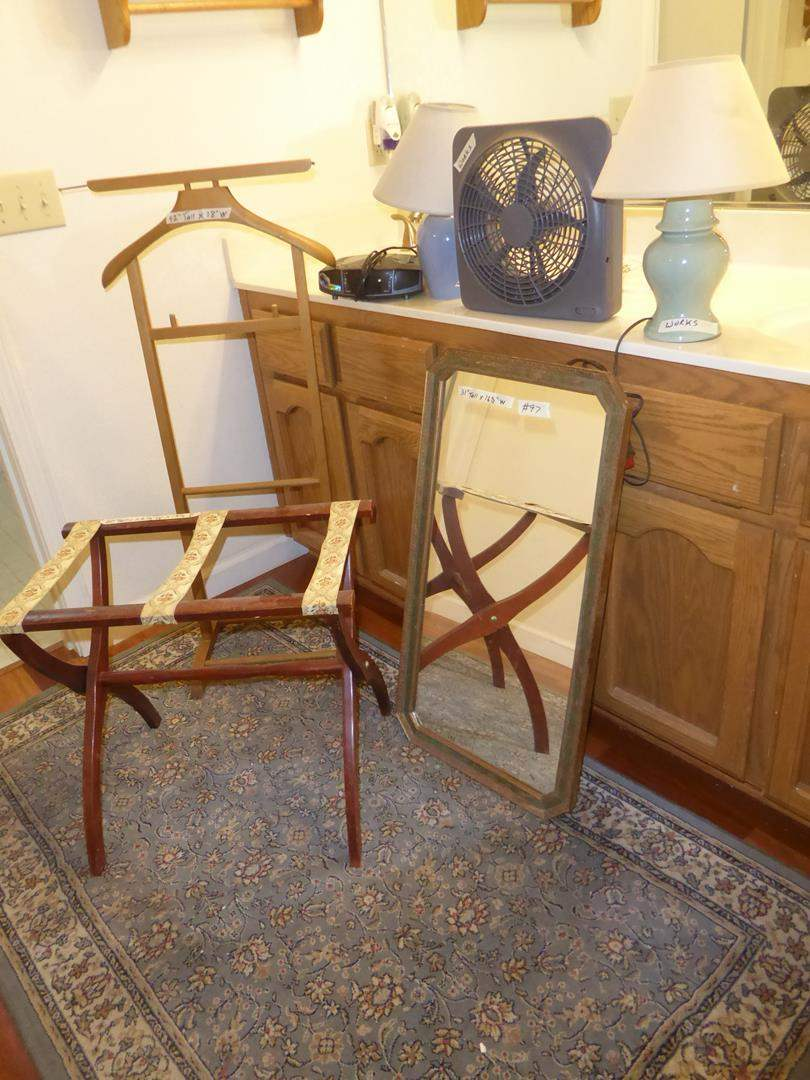 Lot # 97 - Home Luggage Rack, Men's Valet Stand, Antique Wall Mirror, Fan, Clock Radio, Pair Dresser Lamps & Rug (main image)