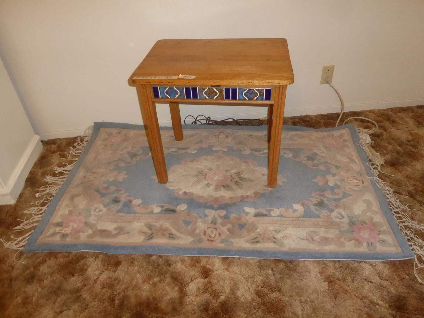 Lot # 99 - Vintage Wooden Tile Inlay End Table & 100% Wool Floral Area Rug (main image)