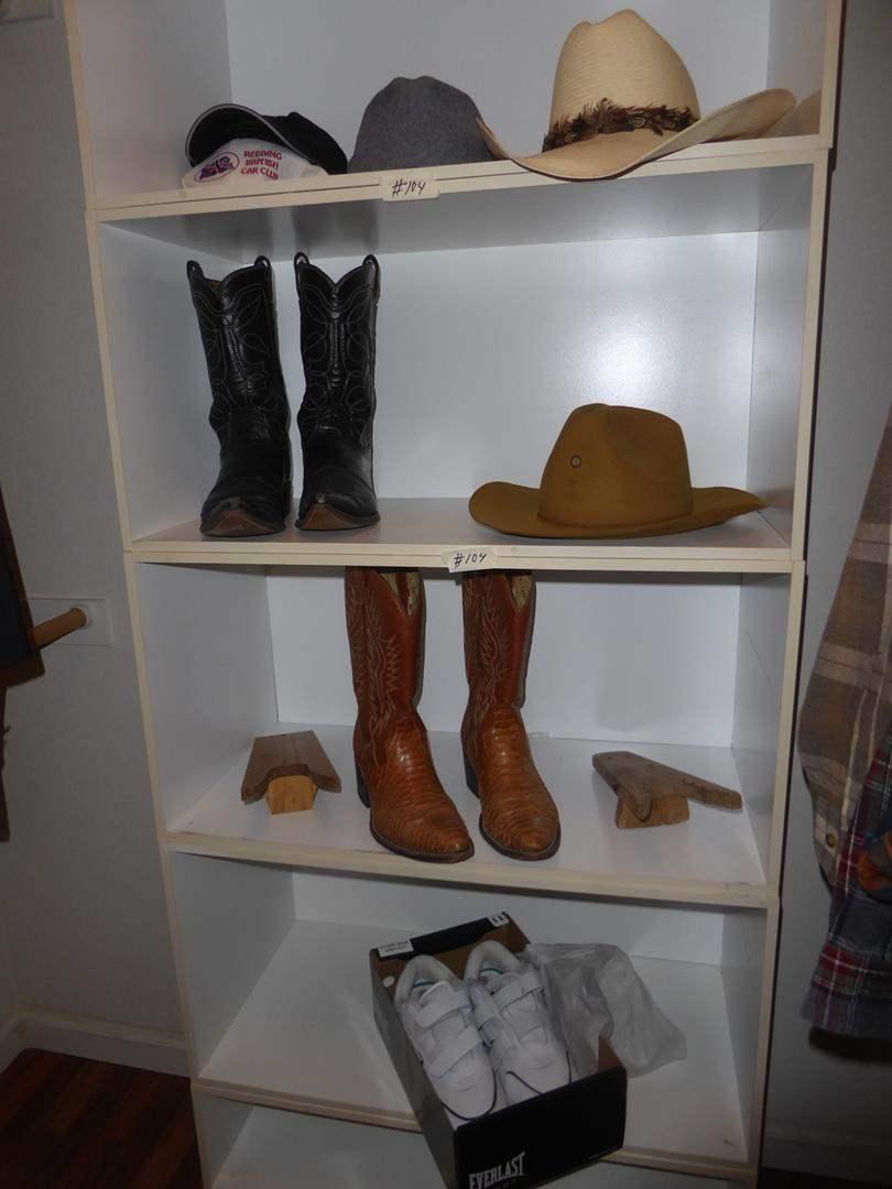 Lot # 104 - Men's Hats, Cowboy Boots & Tennis Shoes - Size 9 & 10 (main image)