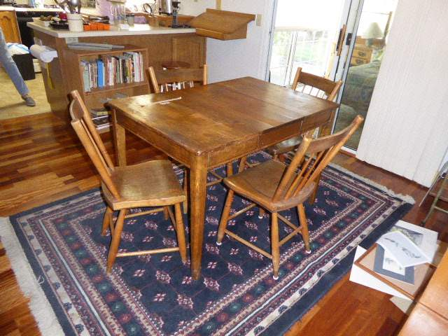 Lot # 1 - Vintage Country Style Rustic Wooden Table W/Four Chairs   (main image)
