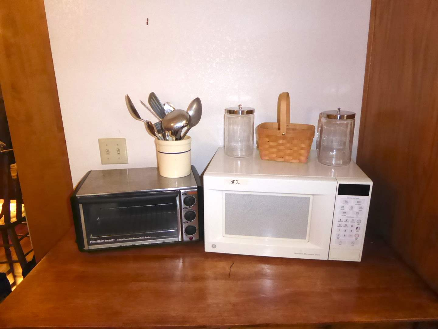 Lot # 2 - Hamilton Beach Toaster Oven, General Electric Microwave & Kitchen Utensils  (main image)