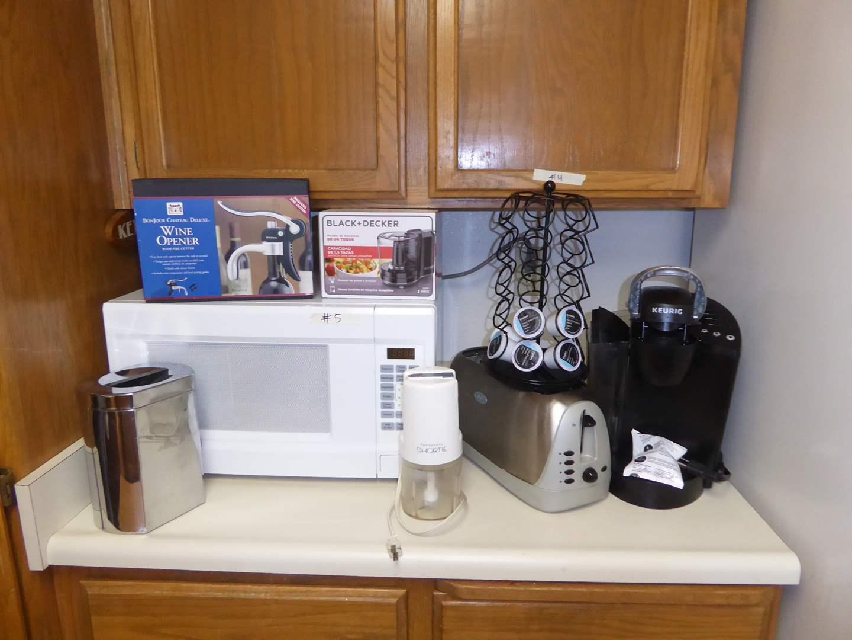 Lot # 5 - Keurig, Microwave, Toaster, Food Choppers & Wine Opener  (main image)