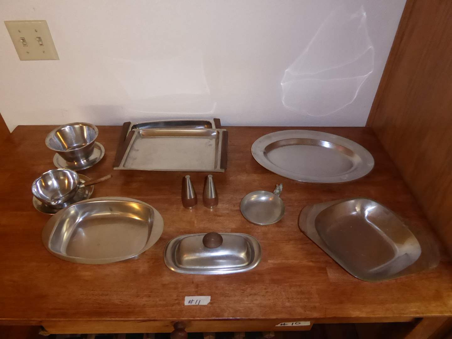 Lot # 11 - Pewter & Stainless Steel Serving Dishes  (main image)