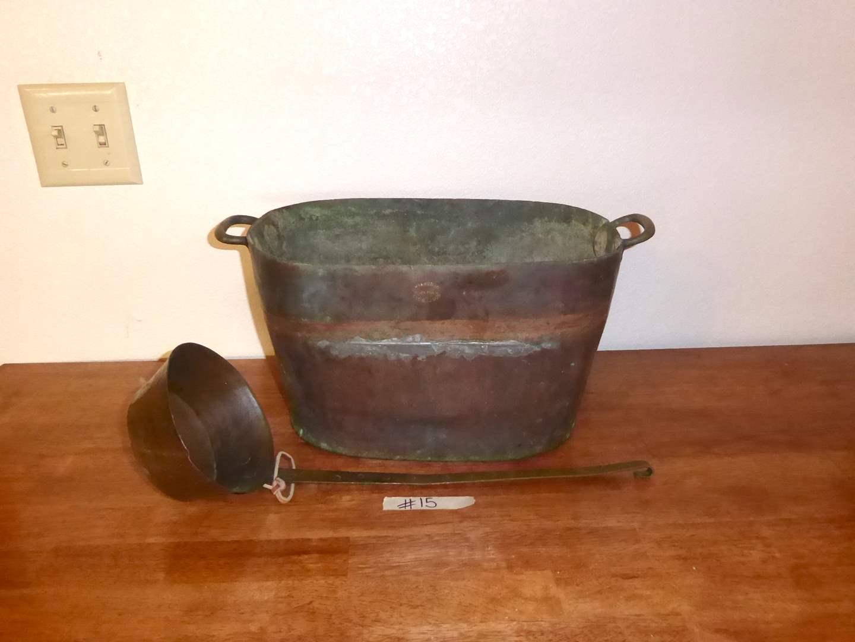 Lot # 15 - Antique H. Wilson & Co. Copper Pot & Antique FA Ladle    (main image)