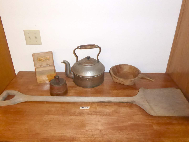 Lot # 17 - Primitive Shovel & Bowl, Amcoin Copper Tea Pot & Antique Butter Press  (main image)