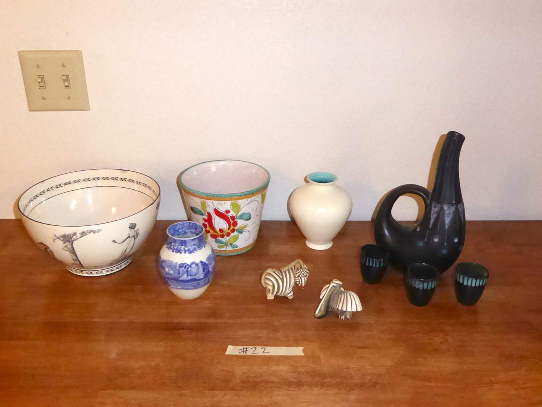 Lot # 22 - Italian Bowl & Planter, Mid Century Pitcher & Franciscan Art Ware Vase  (main image)