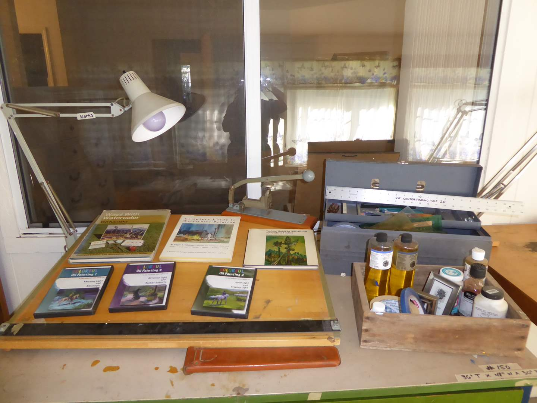 Lot # 150 - Drawing Board, Vintage Skrebba Stapler, Linseed Oil & Other Art Supplies  (main image)