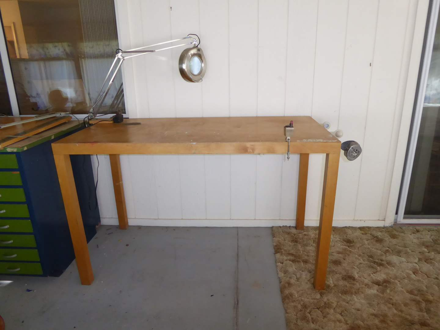 Lot # 152 - Wooden Art/Crafting Table With Magnifying Light   (main image)