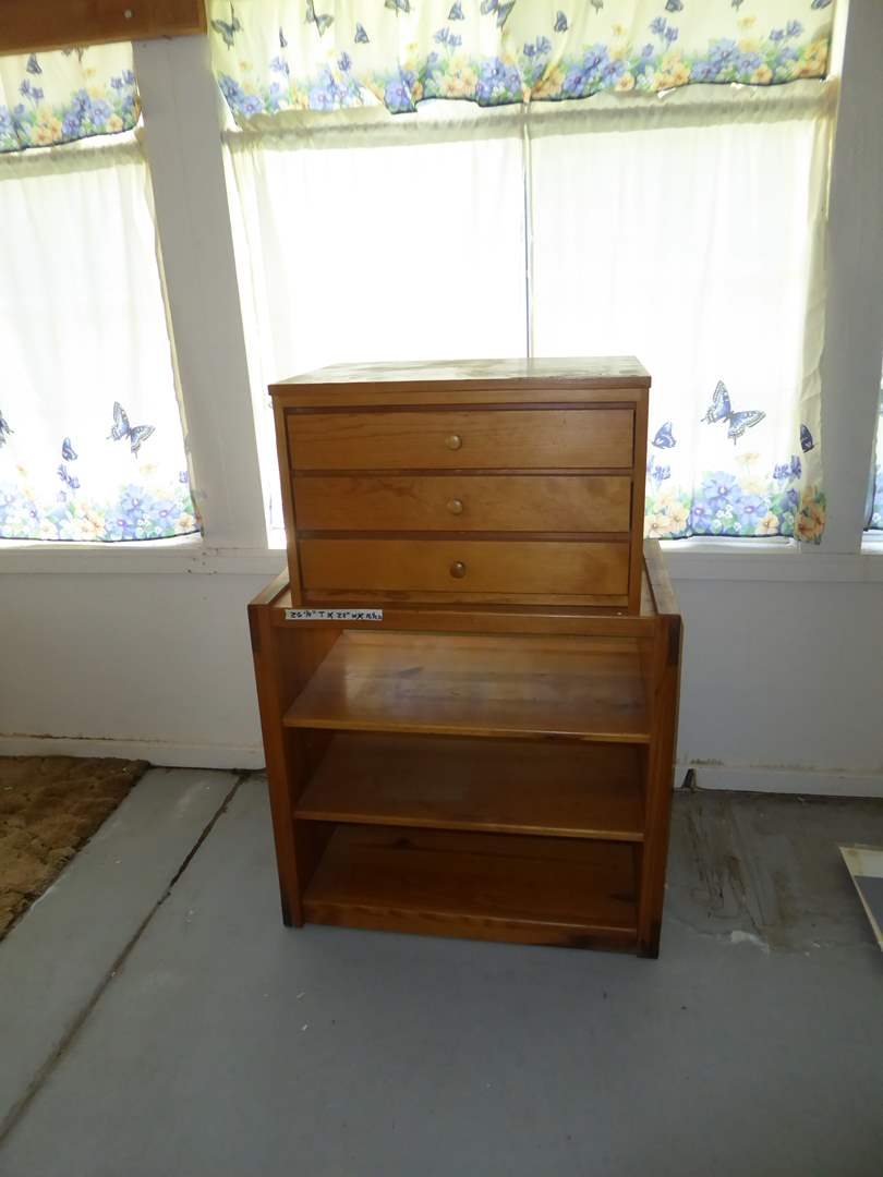 """Lot # 154 -  Small Chest of Drawers """"E & H Manufacturing Co""""  & Solid Wood Shelf  (main image)"""