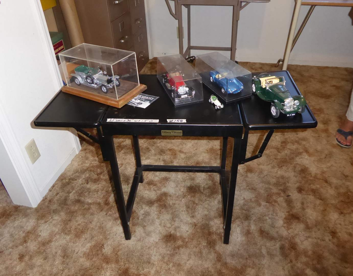 Lot # 158 - Vintage Metal Tiffany Stand Typewriter Table & Collectible Cars  (main image)