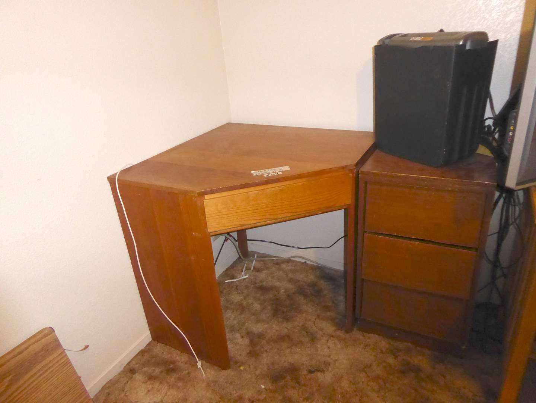 """Lot # 164 - Corner Desk, Vintage """"Woodland"""" Night Stand & Paper Shredder  (main image)"""