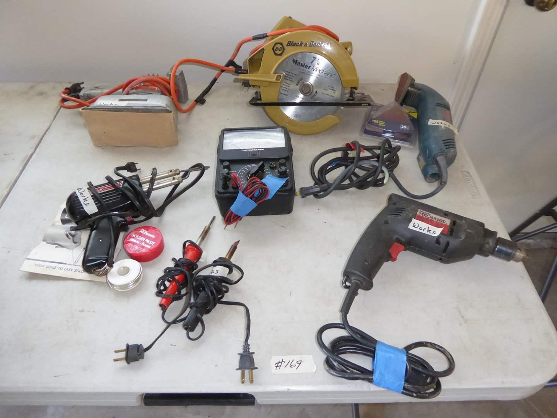 Lot # 169 - Circular Saw, Soldering Gun, Utility Sander & Corner Sander   (main image)