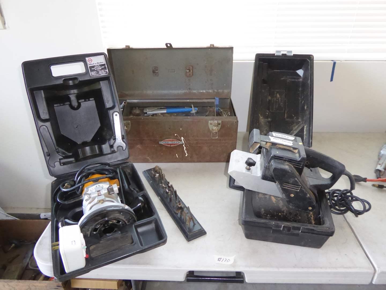 Lot # 170 - B&D Router, Craftsman Belt Sander & Metal Craftsman Tool Box  (main image)