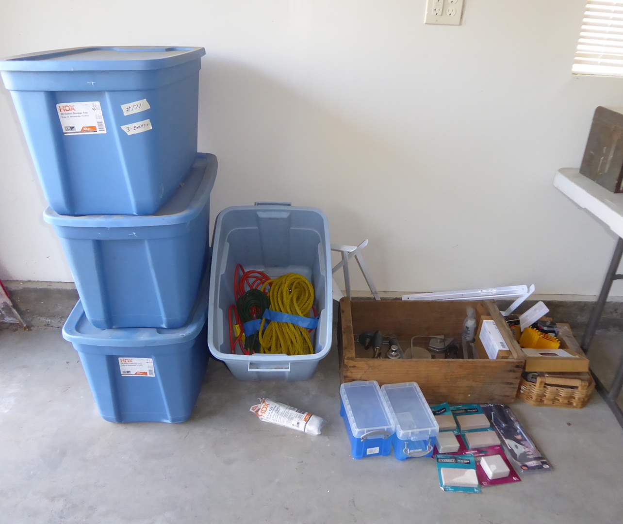 Lot # 171 - Tubs, Extension Cords, Tools & Batteries  (main image)
