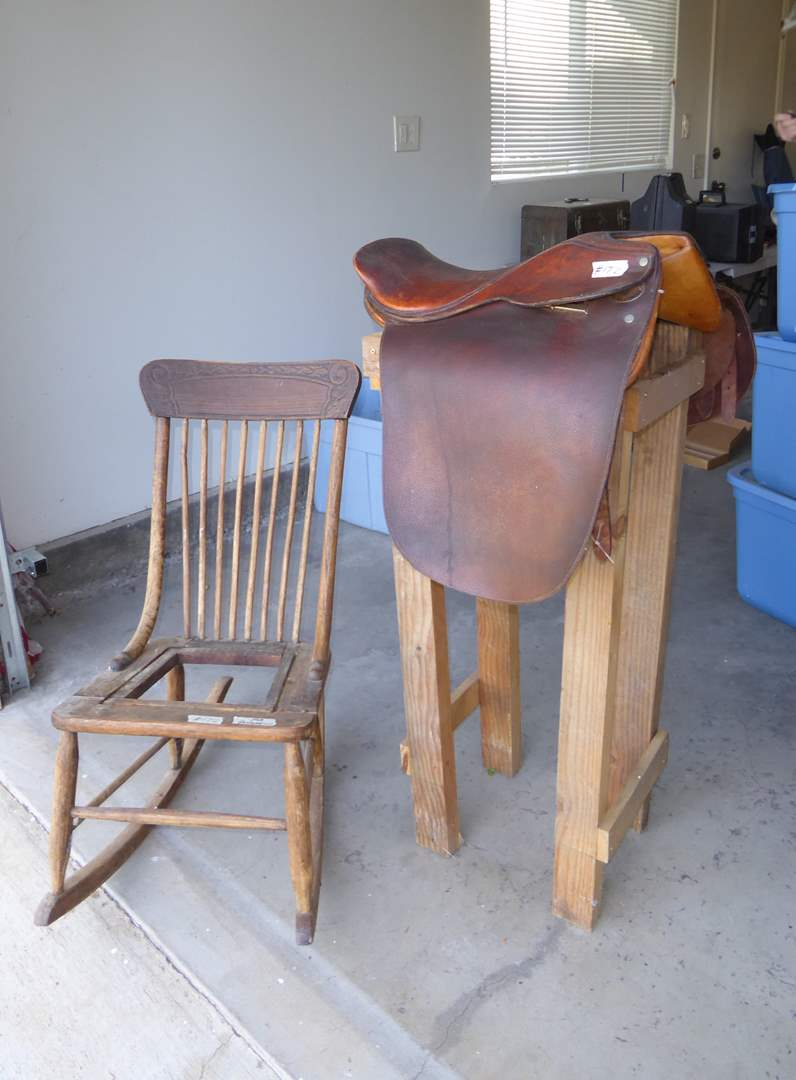 """Lot # 172 - """"JA Barnsby & Sons"""" Saddle W/Stand Vintage & Wooden Rocking Chair (For Restoration) (main image)"""