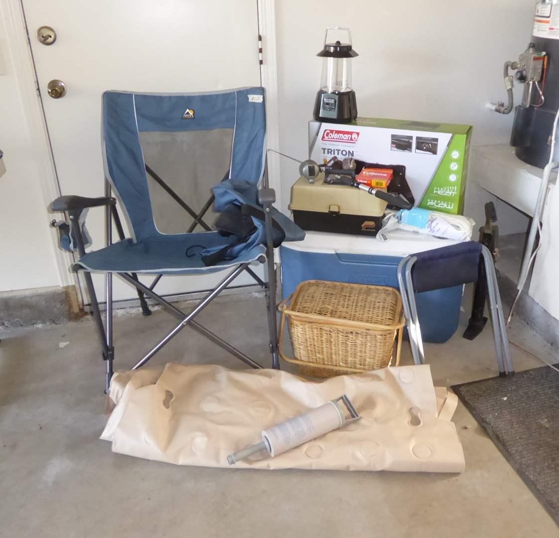 Lot # 173 - Camping Lot - Coleman Stove, Ice Chest, Waffle Mattress & MG Picnic Basket  (main image)