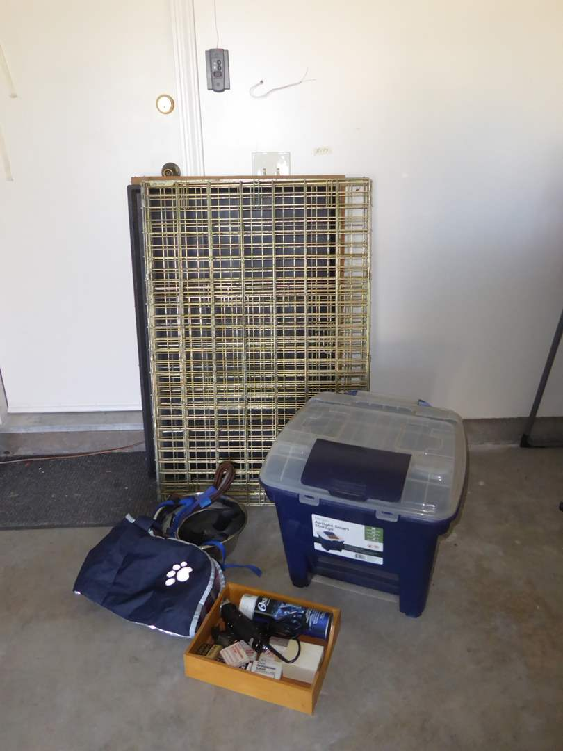 Lot # 174 - Dog Kennel, Oster Animal Clippers & Food Container  (main image)