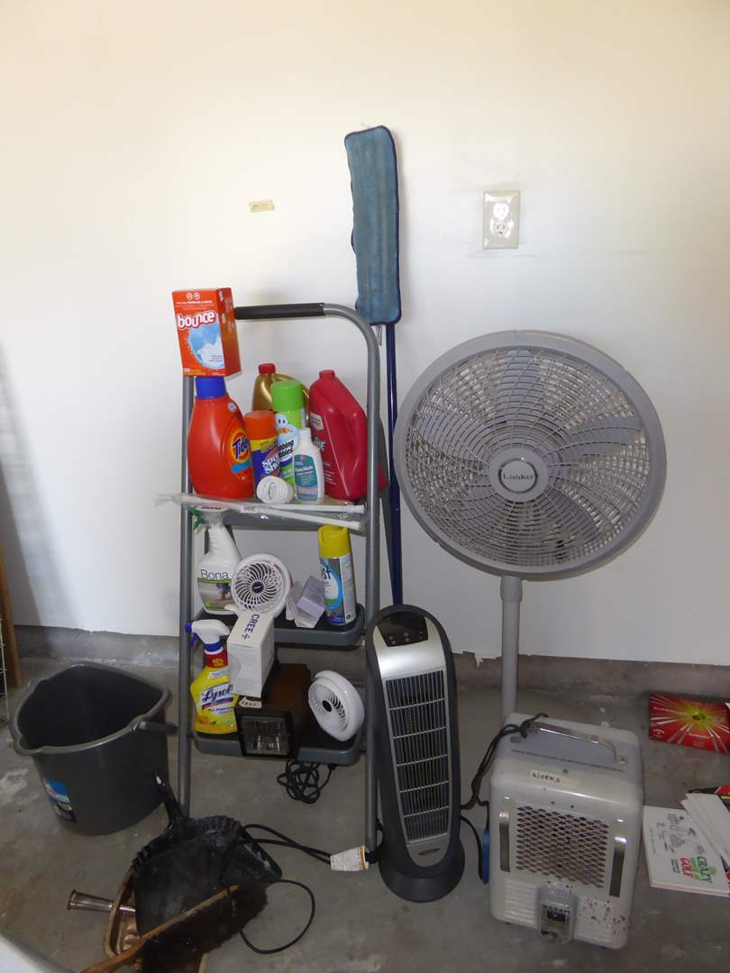 Lot # 175 - Heaters, Fan, Step Ladder & Cleaning Supplies  (main image)