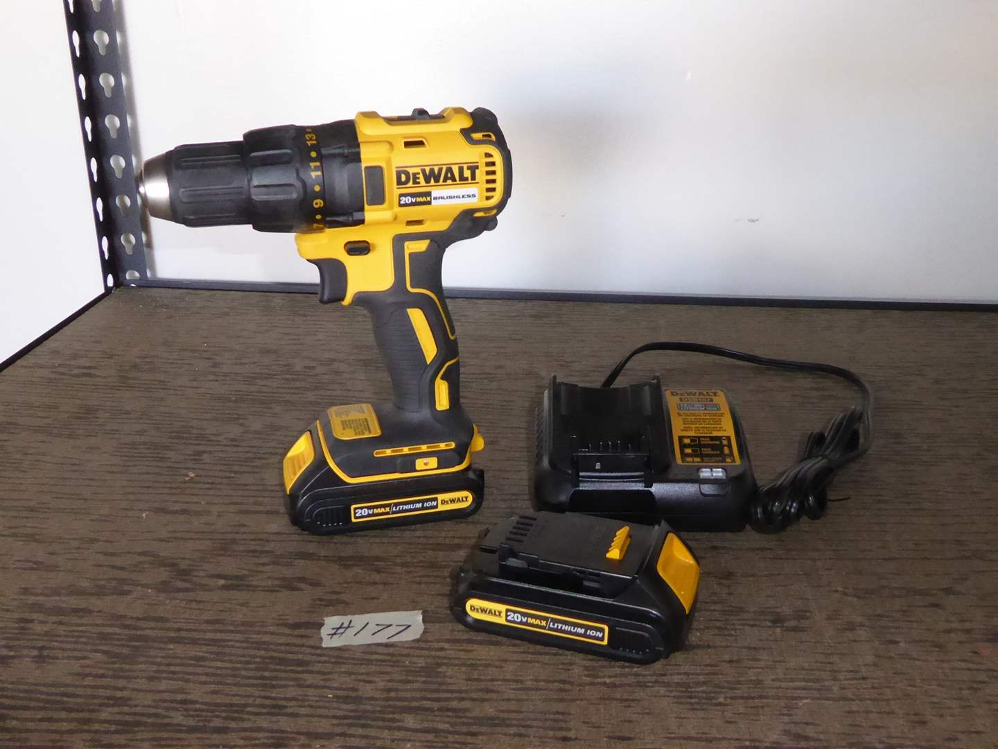 Lot # 177 - DeWalt 20v Max Brushless Cordless Drill W/Batteries & Charger  (main image)