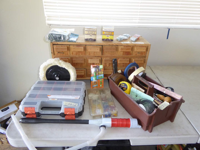 Lot # 185 - Hardware Lot W/Handmade Hardware Storage Drawers  (main image)