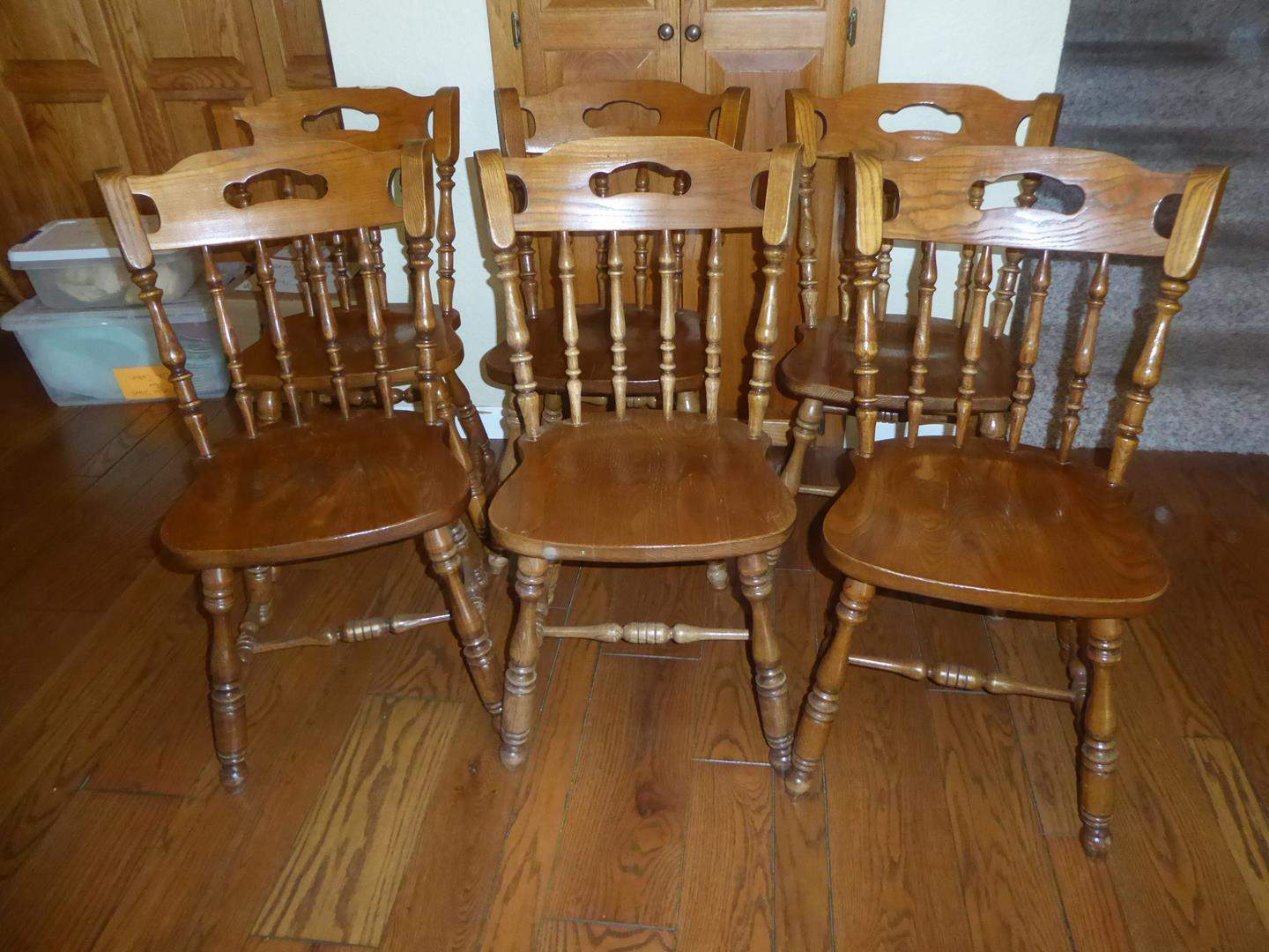 Lot # 55 - Six Vintage Solid Wood Dining Chairs & Cushions (main image)