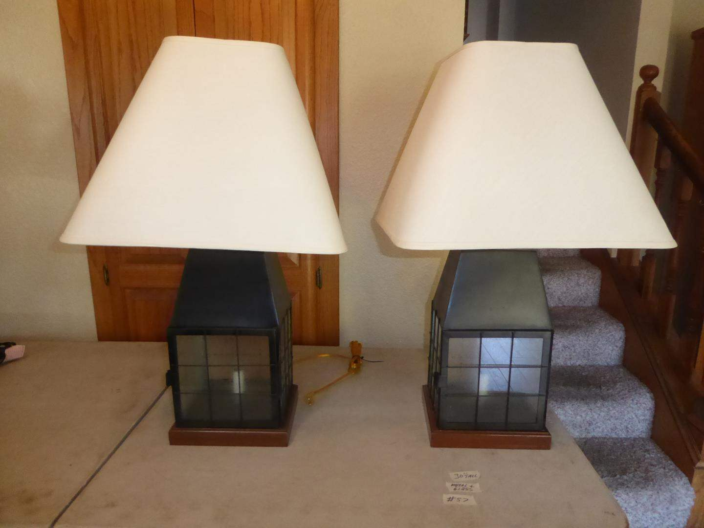 Lot # 57 - Pair Metal & Glass Cabin Style Table Lamps (main image)