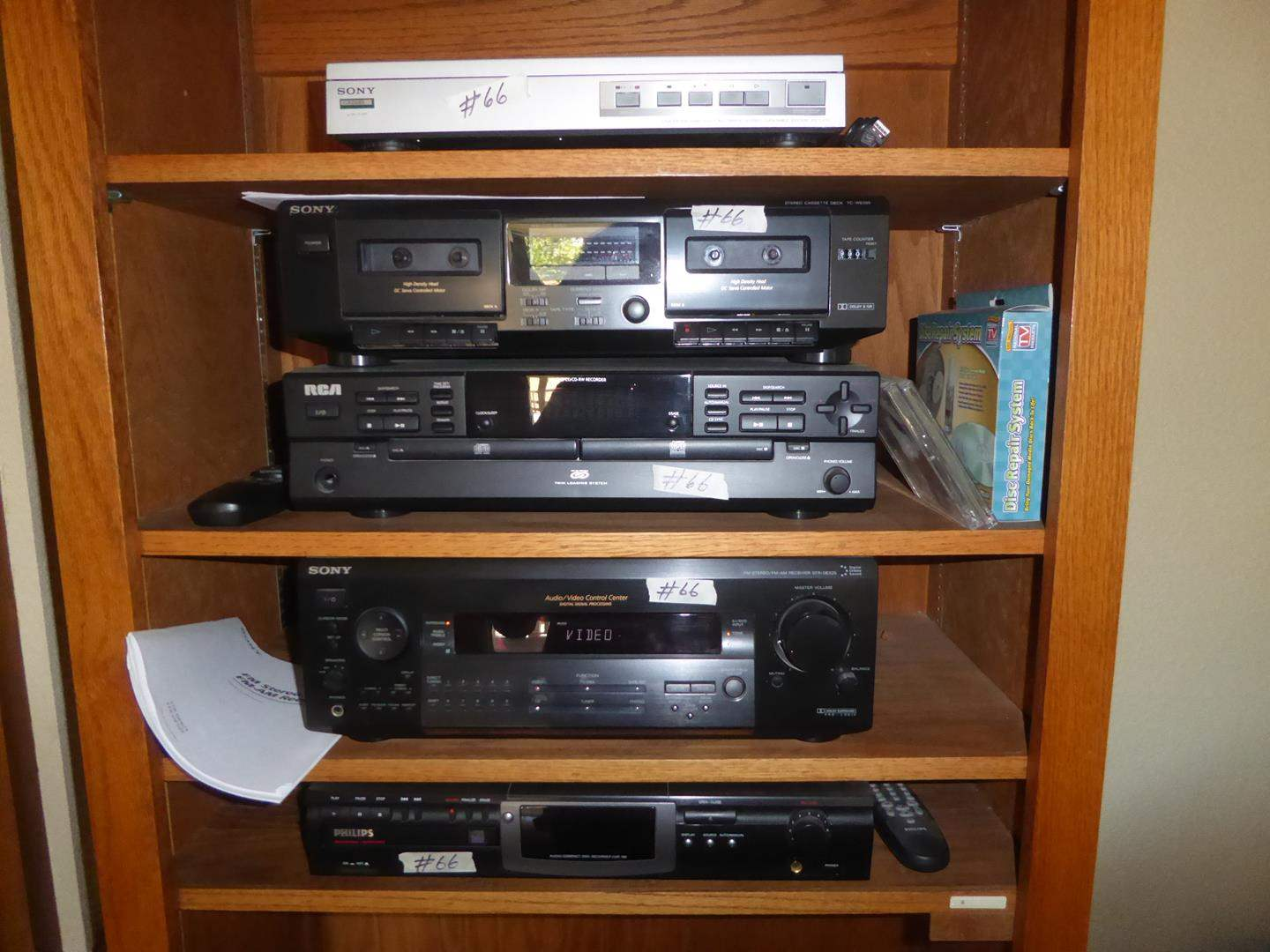 Lot # 66 - Sony Turntable, Sony Cassette Deck, RCA Audio CD Recorder, Sony Receiver & Phillips Compact Disk Recorder (main image)