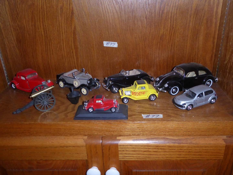 Lot # 77 - Toy Cars, Miniature Cast Iron Cannon & Cast Iron Pail (main image)