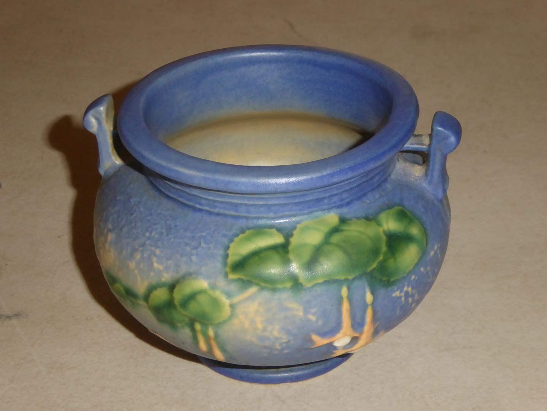 Lot # 88 - Vintage Roseville Pottery Fuchsia Two Handle Jardiniere w/Original Sticker (main image)