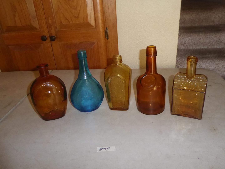Lot # 89 - Five Decorative Vintage Style Glass Decanter Bottles (main image)
