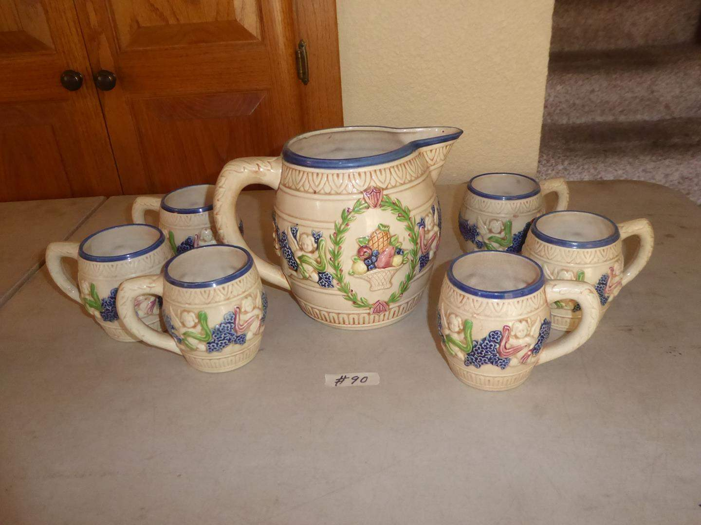 Lot # 90 - Vintage Ceramic Pitcher & Mugs w/Cherub Motif (main image)