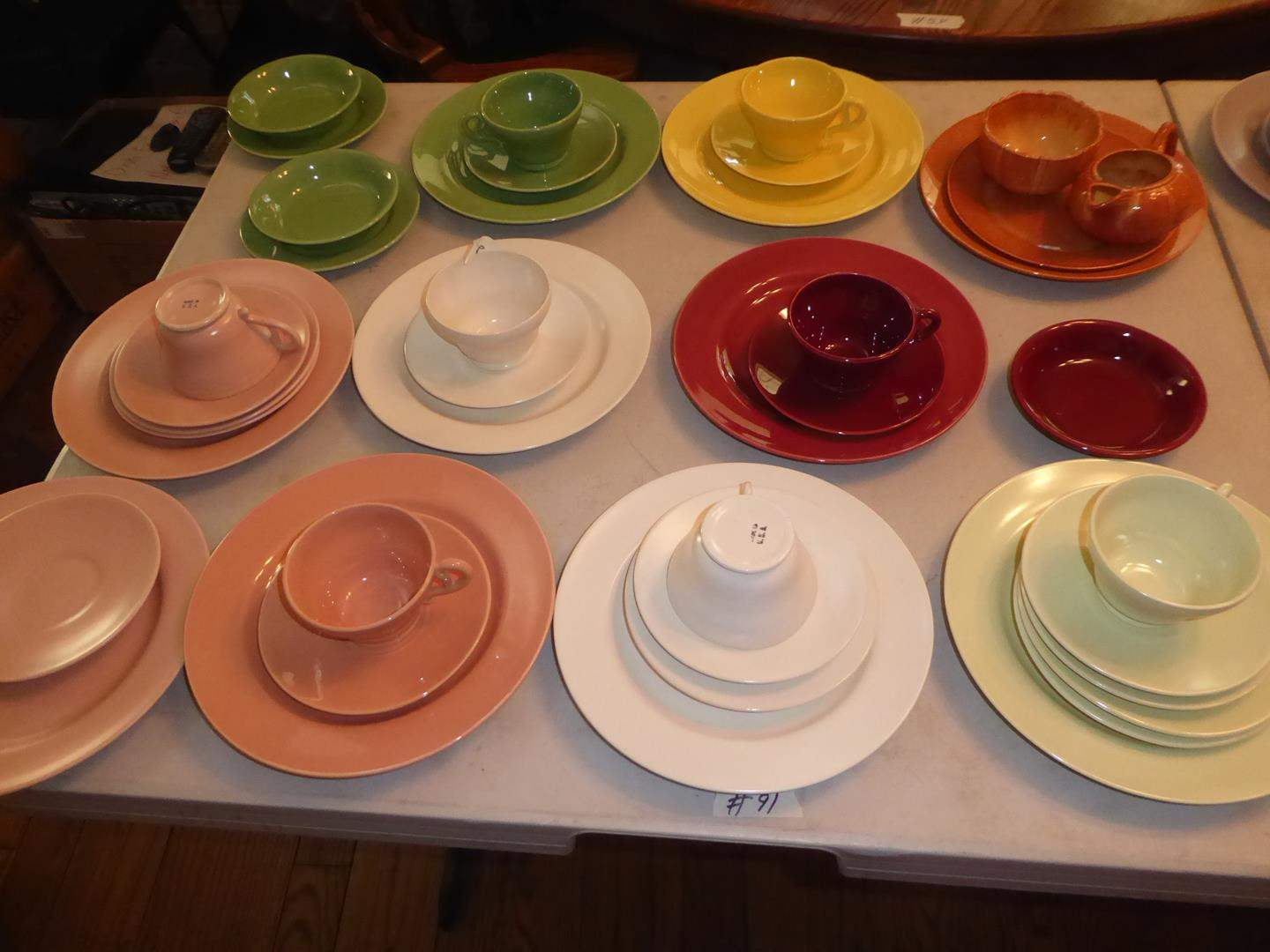 Lot # 91 - Colorful Assorted Vintage Franciscan, GMB Pottery Plates, Saucers & Mugs (main image)