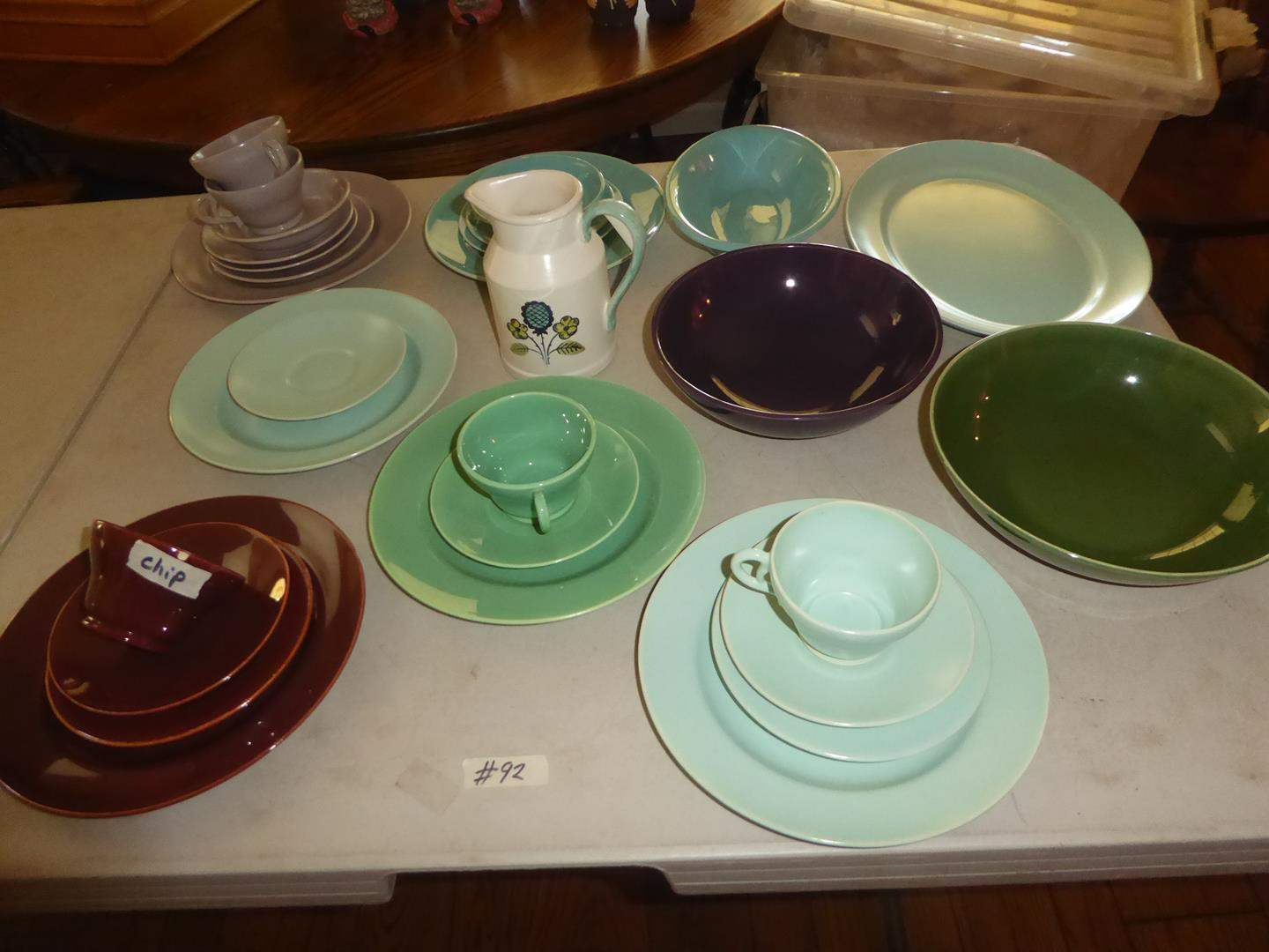 Lot # 92 - Colorful Assorted Vintage Franciscan, GMB Pottery Plates, Saucers, Mugs & Serving Bowls (main image)