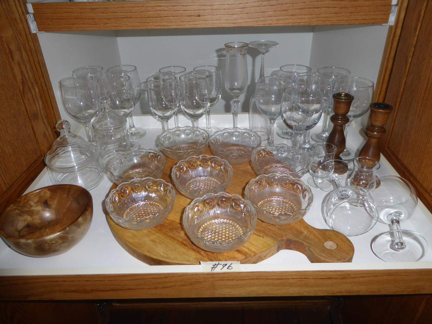 Lot # 96 - Stemware, Sauce Bowls, Candy Dishes, Myrtle Wood Bowl & Cutting Board (main image)