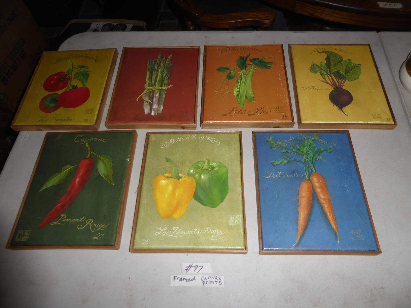 Lot # 97 - Seven Small Framed French Lingo Vegetable Canvas Prints  (main image)