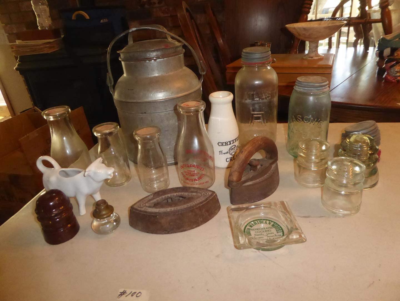 Lot # 100 - Vintage Glass Insulators, Cream Bottles, Sad Irons & Canning Jars (main image)