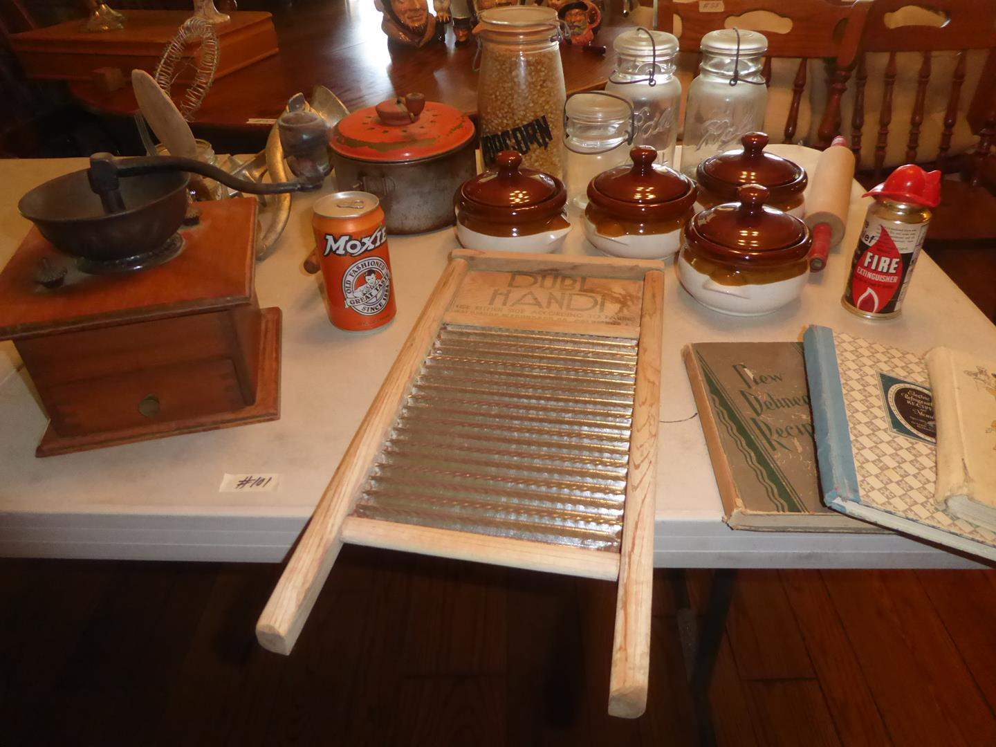 Lot # 101 - Coffee Grinder, Vintage Washboard, Meat Grinder, Canning Jars, Bean Pots & Cookbooks (main image)