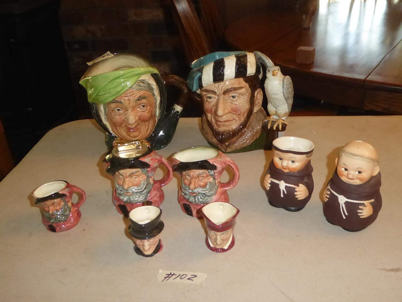 Lot # 102 - Vintage Royal Doulton Figural Mugs & W. Germany Figural Creamer & Sugar (main image)