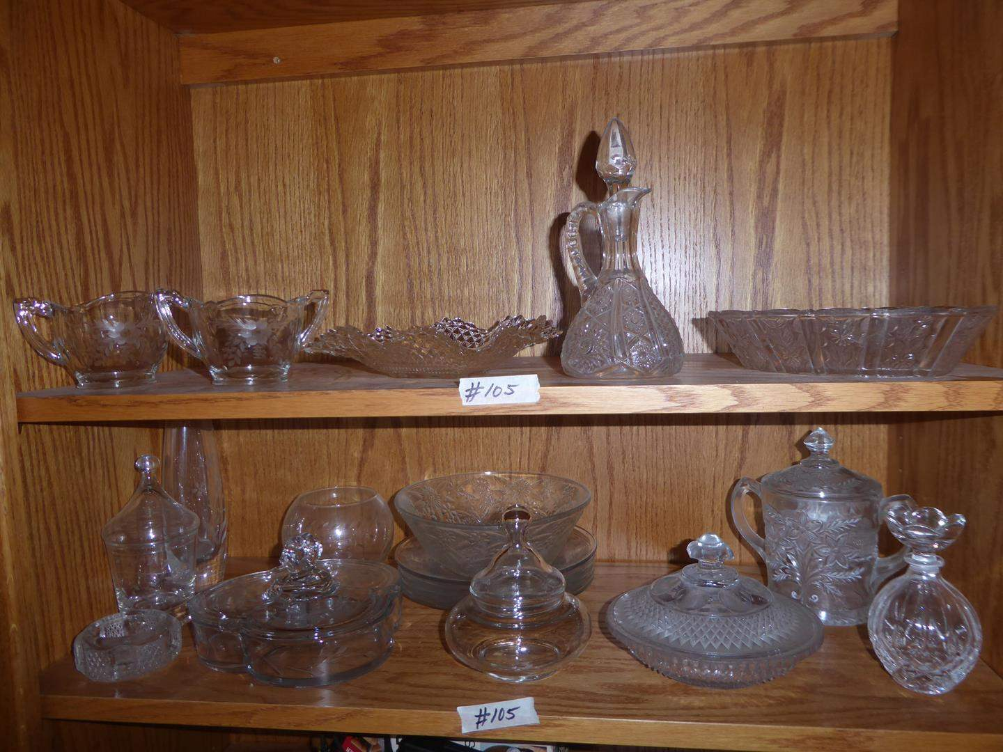 Lot # 105 - Vintage Etched Glass Creamer & Sugar, Cruet, Bowls, Candy Dishes & More (main image)