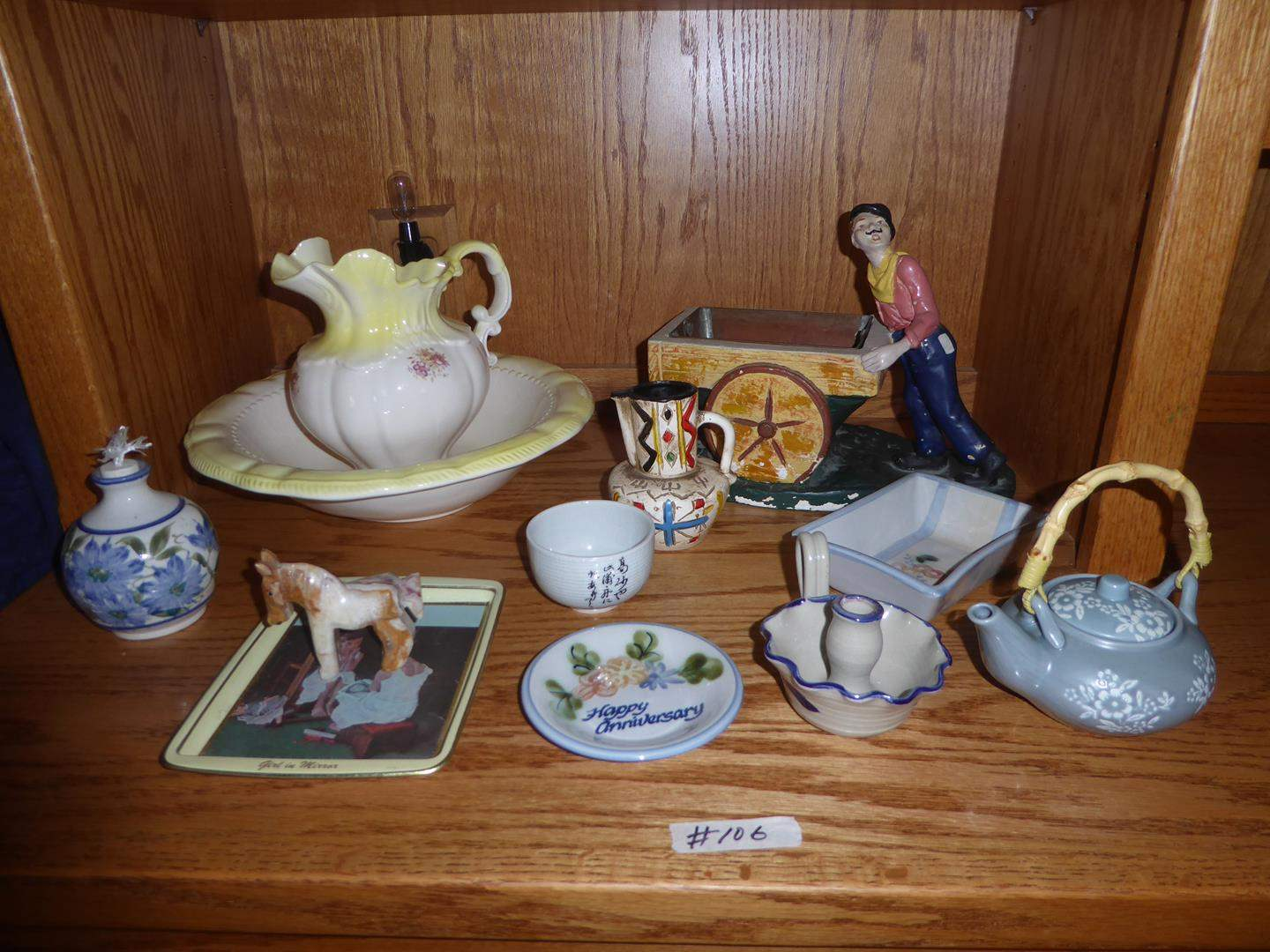 Lot # 106 - Ceramic Oil Lamp, Stone Horse Figurine, Saturday Evening Post Tray, Candle Holder, Planter & More (main image)