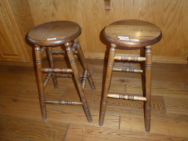 Lot # 107 - Two Solid Wood Bar Stools (main image)