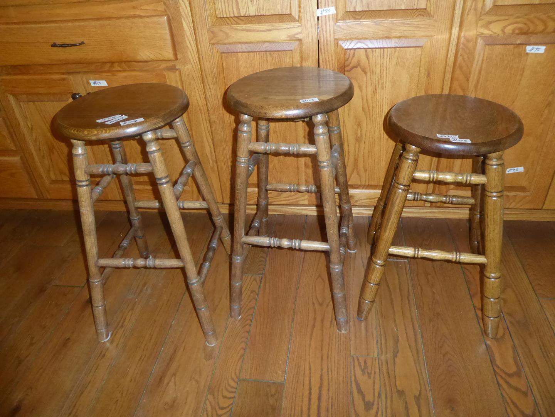Lot # 108 - Three Solid Wood Bar Stools  (main image)