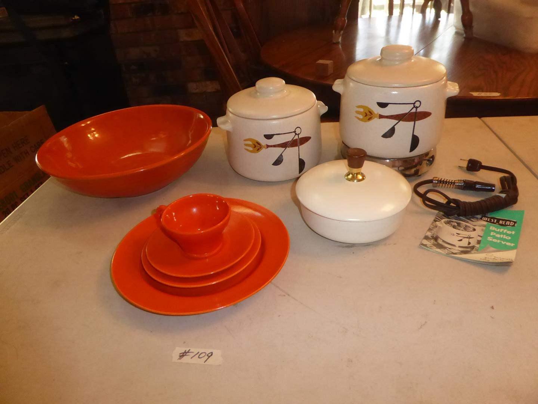 Lot # 109 - Vintage GMB Dishes, Bauer Salad Bowl & West Bend Buffet Patio Server (main image)
