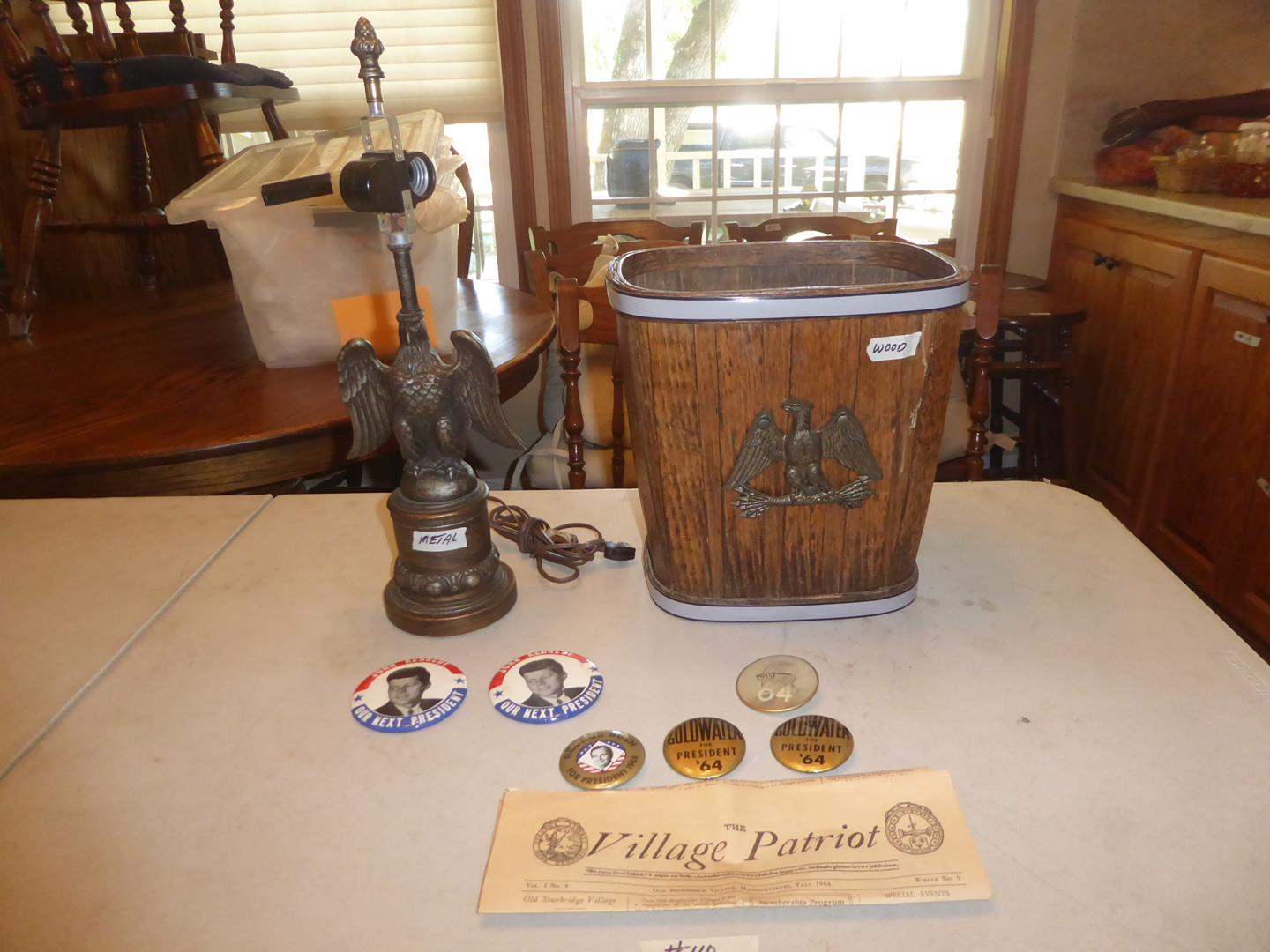 Lot # 110 - Vintage Metal Eagle Lamp, Eagle Trash Can & Presidential Buttons (main image)