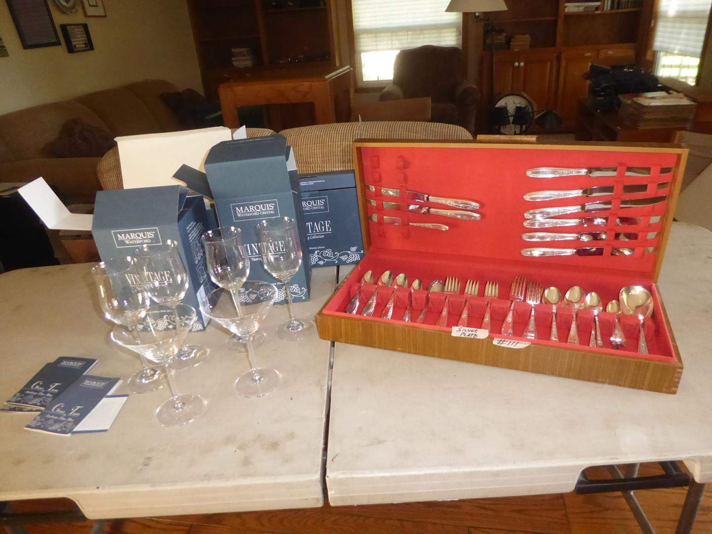 Lot # 111 - Roger Bros Ambassador Silver Plate Flatware In Case & Marquis Waterford Stemware (18 Pieces) (main image)